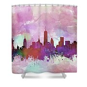 New York Skyline Watercolor 3 Shower Curtain