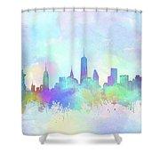New York Skyline Watercolor 7 Shower Curtain