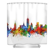 New York  Skyline Watercolor Shower Curtain
