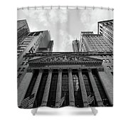 New York Stock Exchange Black And White Shower Curtain