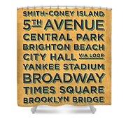 New York Train Stations Retro Vintage - Black On Yellow Shower Curtain