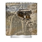 New York Trolley Vintage Photo Collage Shower Curtain