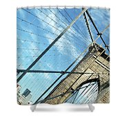 New York Usa  Brooklyn Bridge Towards Manhattan. Shower Curtain