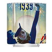 New York, World Fair, Firework, Woman In Blue Dress Shower Curtain