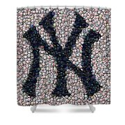 New York Yankees Bottle Cap Mosaic Shower Curtain by Paul Van Scott
