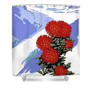 New Zealand Rata Blossom Vintage Travel Poster Shower Curtain