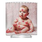 Newborn Baby Gir Filled Kisses Shower Curtain