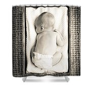 Newborn Baby In Crate Filtered Shower Curtain