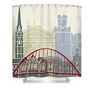 Newcastle Skyline Poster Shower Curtain