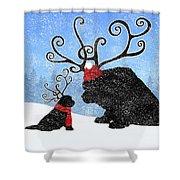 Newfie Reindeer Shower Curtain