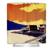 Newfoundland Fishing Shacks Shower Curtain