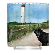 Newfy At Cape May Light  Shower Curtain