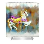 Newport Beach Carousel Horse Shower Curtain
