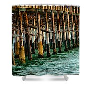 Newport Beach Pier Close Up Shower Curtain