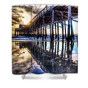 Newport Beach Pier - Reflections Shower Curtain
