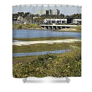 Newport Estuary And Nearby Businesses Shower Curtain