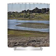 Newport Estuary Looking Across At Visitors Center  Shower Curtain