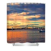 Newport Gold Shower Curtain by Joann Vitali
