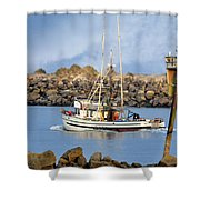 Newport Oregon - Coastal Fishing Shower Curtain
