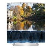 Newton Upper Falls Autumn Waterfall Reflection Shower Curtain