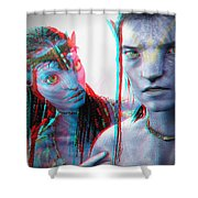 Neytiri And Jake Sully - Use Red-cyan 3d Glasses Shower Curtain