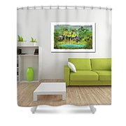 Home Decor With Tropical Palms Digital Painting Shower Curtain