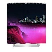 Niagara Falls At Night - Pink Shower Curtain