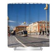 Nice Tramway At Place Massena Shower Curtain