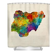 Nigeria Watercolor Map Shower Curtain