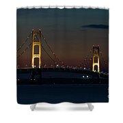 Night At Mackinac Bridge Shower Curtain
