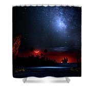 Night At Pirate's Lagoon Shower Curtain