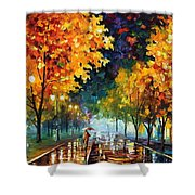 Night Autumn Park  Shower Curtain