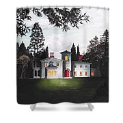 Italian House Country House Detail From Night Bridge  Shower Curtain