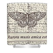 Night Butterfly On Old Letter Shower Curtain