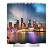 Night Downtown River Shower Curtain