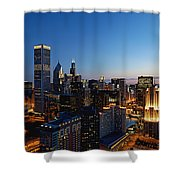 Night Falls On Chicago - D001087 Shower Curtain
