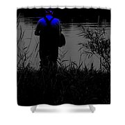 Night Fisherman Shower Curtain