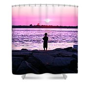 Night Fishing On Long Beach Island Shower Curtain