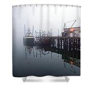 Night Fog Along The Dock Shower Curtain