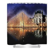 Night Glow Of The Louvre Museum In Paris Shower Curtain