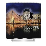 Night Glow Of The Louvre Museum In Paris  Text Louvre Shower Curtain