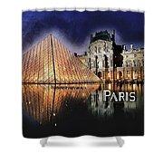 Night Glow Of The Louvre Museum In Paris Text Paris Shower Curtain