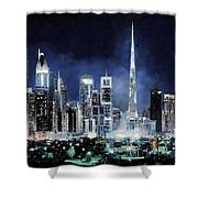 night in Dubai City Shower Curtain