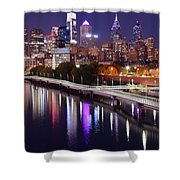 Night Lights At Rivers Edge Shower Curtain