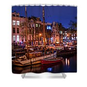 Night Lights On The Amsterdam Canals 7. Holland Shower Curtain