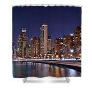 Night Lights On The Lakefront Shower Curtain
