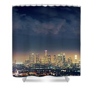 Night Los Angeles Skyline Shower Curtain