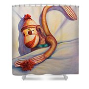 Night Night Sock Monkey Shower Curtain