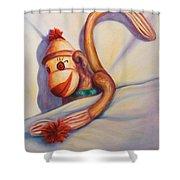 Night Night Sock Monkey Shower Curtain
