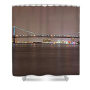 Night On The Delaware - The Benjamin Franklin Bridge Shower Curtain